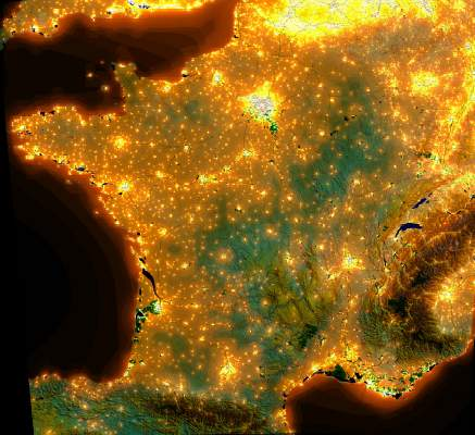 carte de la pollution lumineuse en france